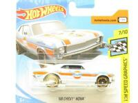 Hot Wheels 68 Chevy Nova Blue HW Speed Graphics Short Card 1 64 Scale Sealed New