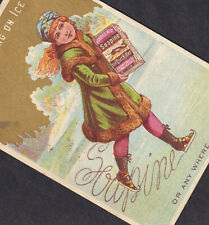Antique Victorian Ice Skating 19th Century Fur Coat Soapine Whale Soap Ad Card