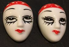 Harlequin CLOWN Red/White Top LOT of ( 2 ) Brooch PINS Theater Drama Mask NOS