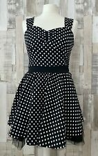 Living Dead Souls Black Polka Dot Fit & Flare Dress Gothic Emo Style Size 10