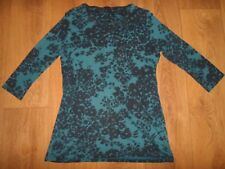 MARKS AND SPENCER NAVY & TEAL COTTON STRETCHY TUNIC SIZE 12