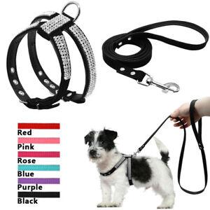 Rhinestone Dog Harness and Lead set Leather Padded Pet Cat Walking Vest Harness