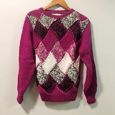 VTG A'MILANO 80's Hand Knit Sweater Argyle Retro Valley Girl SZ L