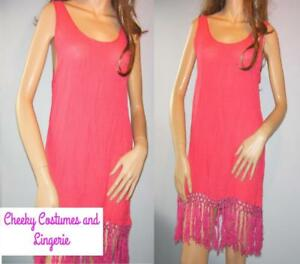 Pool Sun Dress Sundress Beach Cover Up Coral Pink Size 10-12