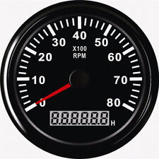 85mm 12/24V Car Truck Marine RPM Tachometer Gauge LCD Tacho Hour Meter 0-8000RPM