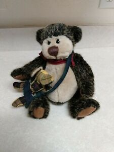 """The Ganz Cottage Jointed Plush 11"""" Bear With Little Puppy Dog ~ GUC"""
