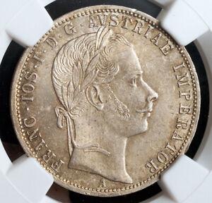 1861, Austria, Francis Joseph I. Attractive Silver Florin Coin. NGC MS-63!
