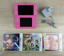Nintendo 3DS XL Pink Handheld System ~ Official Charger & 3 Games ~ Free Post