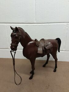 Vintage 1970 MARX JOHNNY WEST BROWN HORSE with Moving Head