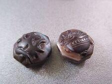 Tibetan Sardonyx Agate Carved Beads 2pcs