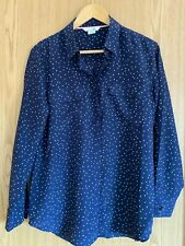 Boden ladies silk shirt navy spot size 10