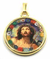 Anhänger Medaille, Glas Murano Arbeiten Blatt Gold, Face Von Jesus' Christus