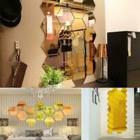 12x 3D Removable Home DIY Gold Mirror Hexagon Vinyl New Wall Sticker Decal Decor