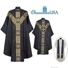 Priest Pastor St. Andrews  Chasuble Black Gothic Vestment & Stole