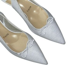 NEW Christian Louboutin Hall Perforated Leather Slingback Pumps 38.5 White $850