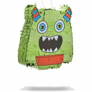 Green Monster Pinata for Birthday Party, Halloween (12.5 x 12.5 x 3 In)