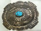 Navajo Sterling Silver Turquoise Larged Tooled Belt Buckle Native American
