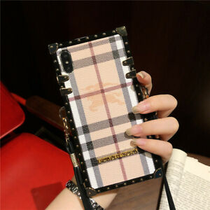 For iPhone 12 11 Pro XS Samsung Note20 Luxury Protective Square Strap Case Cover