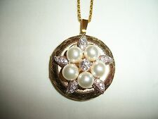 ANTIQUE GOLD PLATED 3D FLOWER PICTURE LOCKET W/ PEARLS & CRYSTAL RHINESTONE OOAK
