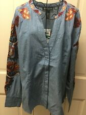 INC Pinstriped Embroidered Tunic Top Blouse, Blue Large NWT $89