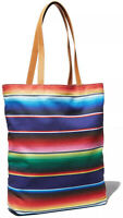 Bloomingdale's Rainbow Striped Cotton Canvas Tote Bag Handbag Eco Reusable Purse
