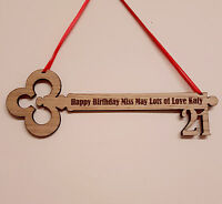 PERSONALISED BIRTHDAY GIFT 21ST 18TH 16TH ENGRAVED WOODEN KEY KEEPSAKE PLAQUE