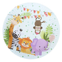 10pcs Safari animals theme paper plates kids birthday party disposable dishes EB