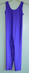 Vintage 80s Active Elements Shiny Purple Satin Knit Unitard Work-Out Wear XL