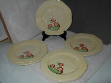 SIX CARLTON WARE SIDE PLATES YELLOW  WITH EMBOSSED LEAVES AND A FLORAL PATTERN
