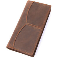 Vintage Men's Genuine Leather Long Bifold Wallet Money Card Holder Clutch Purse