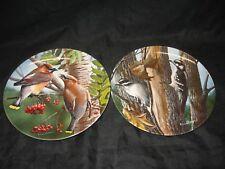 Set of 2 Kevin Daniels Collector Plates Downy Woodpecker & Cedar Waxwing