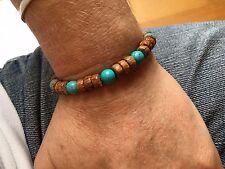 Urban style bead bracelet. Wood and Turquoise. Handmade in U.K. Fashion wear