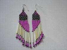 "Porcupine quill Earrings New handmade  pink slant 3"" x3/4""  checkered top"