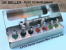 Implante Dental Kit de controladores de mini llave de trinquete Universal Hexagonal Tornillos 8 Pc Nuevo