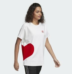 New Adidas Originals Women T-Shirt Valentine's Day Tees Big Red Heart CE1684