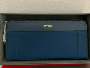 NWT in Box Tumi Voyageur Zip Around Contentinal Leather Trimmed Nylon Wallet
