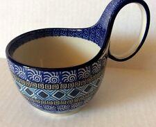New C.A. Polish Pottery 14 oz Loop Handled Bowl-Aztec Pattern