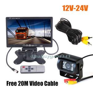 "18LED Car Rear View Reverse Camera + 7"" LCD Monitor Kit For 20M Bus Truck 12-24V"