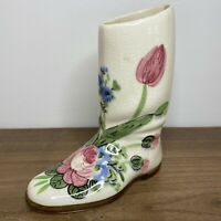 Vintage Ceramic Boot Planter Vase Cream Cowboy Girl Flower Western Country Gift