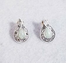 Vintage Sterling Silver and Marcasite Chrysoprase Teardrop Earrings - Signed