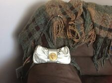 Gucci Metallic Leather Shoulder/Wristlet Clutch with gold Clasp