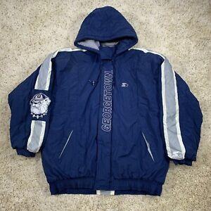 Vintage 90s Georgetown Hoyas Bulldogs Starter Jacket Mens Size 3XL Big Logo Coat