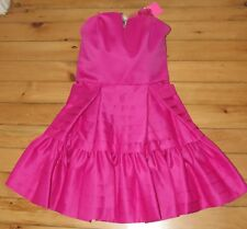 Betsey Johnson Womens Fuchsia Formal Dress 10 NWT Pink Strapless Satin Pleated