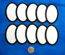 """10 Blank Fabric Patches 2""""x 3"""" Oval White Black Crafts Scouts Scrapbooking Award"""