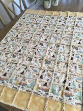 Rag Quilt Blanket/Boy or Girl/Camping Adventure/Multicolored