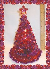 "NEW! OOAK 8.5""LIGHTED RED DOLLHOUSE MINIATURE CHRISTMAS TREE MID-CENTURY MODERN!"