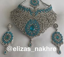 Indian/Pakistani Bollywood Style Turquoise and Silver necklace set