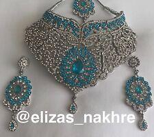 Indian/Pakistani Bollywood Style Jewellery Turquoise necklace set Choker