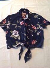 Girls Juniors Caribbean Joe Tropical Hawaiian Floral Shirt Rayon Blue Med EUC