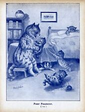 LOUIS WAIN CAT KITTENS PLAY WITH BALL OF YARN SICK KITTEN IN BED LOUIS WAIN CAT